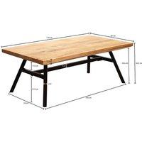 Wohnling Couchtisch »WL5.955«, Mango Massivholz / Metall 110x42,5x60 cm Wohnzimmertisch Tisch Rustikal Echtholz und Edelstahl Moderner Sofatisch Massiv