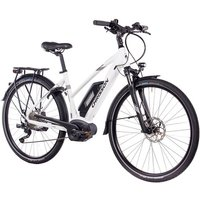 CHRISSON E-Bike Trekking Damen »E-ACTOURUS Lady«, 10 Gang, Shimano DEORE, Rahmenakku, 250 W