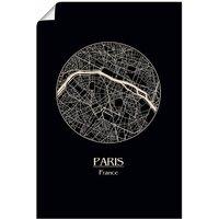 Artland Wandbild »Retro Karte Paris Frankreich Kreis«, Frankreich (1 Stück), in vielen Größen & Produktarten - Alubild / Outdoorbild für den Außenbereich, Leinwandbild, Poster, Wandaufkleber / Wandtattoo auch für Badezimmer geeignet
