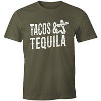 MoonWorks Print-Shirt »Herren T-Shirt Tacos & Tequila Wurm Sombrero Tequilla Mexikanisch Moonworks®« mit Print