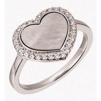 Firetti Silberring »Herz, rhodiniert«, mit Perlmutt und Zirkonia