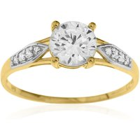 9ct Yellow Gold CZ Solitaire Shoulder Ring