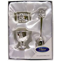 Silver Plated Teddy Egg Cup, Napkin Ring And Spoon Set.