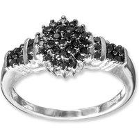 9ct White Gold 0.50ct Black Diamond Cluster Ring
