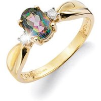 9ct Yellow Gold Oval Mystic Topaz Ring
