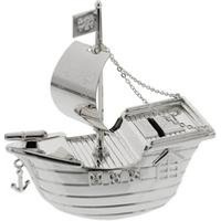 Silver Plated Pirate Ship Money Box.