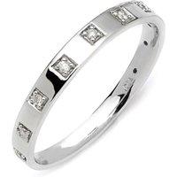 9ct White Gold Square Diamond Ring