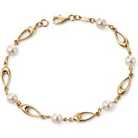 Elements 9ct Yellow Gold Link Bracelet with White Freshwater Pearls