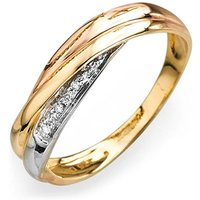 9ct Tri Colour Gold and Diamond Set Cross Over Ring