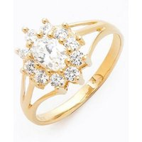9ct Yellow Gold CZ Flower Cluster Ring