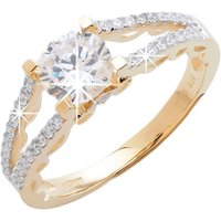 9ct Yellow Gold Solitaire CZ Patterned Shoulder Ring