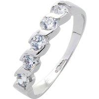 9ct White Gold CZ Swirl Detail Ring