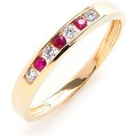 9ct Yellow Gold White and Red CZ Eternity Ring