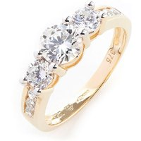 9ct Yellow Gold CZ Shoulder Ring
