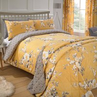 Catherine Lansfield Canterbury Reversible Polka Floral Bedspread.