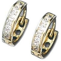 9ct Gold CZ Huggy Earrings