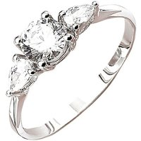 9ct White Gold CZ Solitaire with 2 CZ Pears Ring