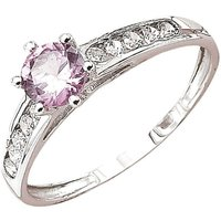 9ct White Gold White CZ with Pink Solitaire CZ Ring