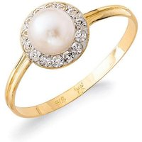 9ct Yellow Gold CZ and Faux Pearl Round Ring
