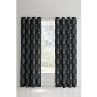 Skulls Grey Lined Eyelet Curtains