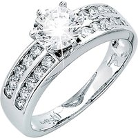 9ct White Gold CZ Solitaire with 2 Rows of Small CZ Ring