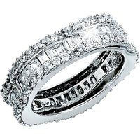 9ct White Gold CZ Flower Shaped Band Ring