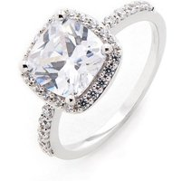 9ct White Gold Square CZ Ring
