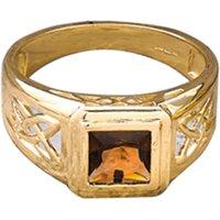 9ct Yellow Gold Celtic Style Smokey Quartz Ring