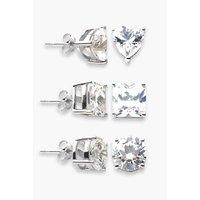 Sterling Silver Set of Three CZ Set Stud Earrings