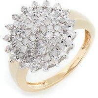 9ct Yellow Gold 1ct Diamond Cluster Ring