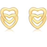 9ct Yellow Gold Entwined Hearts Stud Earrings