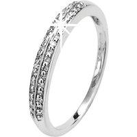 9ct White Gold Double Row Set Diamond Band Ring