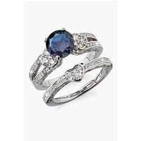 Silver Plated Blue CZ 2-Piece Bridal Ring Set