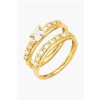 9ct Yellow Gold CZ 2 Piece Bridal Ring Set