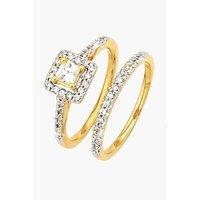 9ct Yellow Gold CZ 2 Piece Square Bridal Ring Set