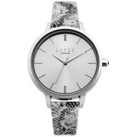 Lipsy Silver Snakeskin Strap Watch with Silver Sunray Dial.