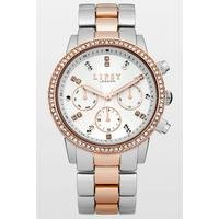 Lipsy Ladies Silver/Rose Gold Bracelet Watch with White Dial.