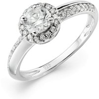 Sterling Silver Rhodium Plated CZ Halo Ring with SD
