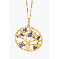 18ct Gold Plated Sterling Silver CZ and Enamel Tree of Life Pendant