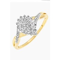 9ct Yellow Gold 15pt Diamond Cluster Ring