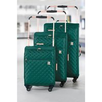Worlds Lightest Teal Quilted Suitcase