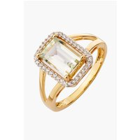 9ct Gold 2ct Green Amethyst and CZ Ring