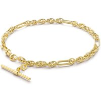 9ct Yellow Gold Figaro Rope Chain Albert T-Bar Bracelet