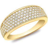 9ct Yellow Gold CZ Pave Set Tapered Ring