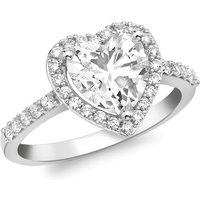 9ct White Gold Heart CZ Ring
