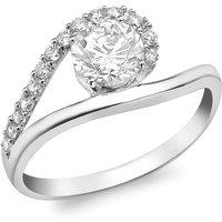 9ct White Gold CZ Swirl Ring