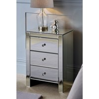 'Mirrored 3 Drawer Bedside Table
