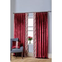 Velvet Rose Bordered Lined Pencil Pleat Curtains