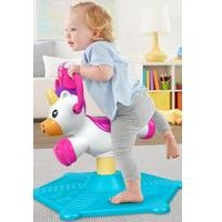 Fisher-Price Bounce and Spin Unicorn, Stationary Musical Ride-On Toy