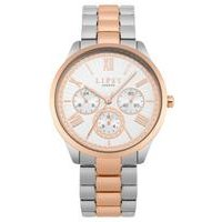 Lipsy Silver and Rose Gold Bracelet Watch with White Dial.